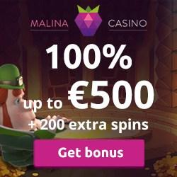 Malina 100% up to €500 bonus + 200 free spins