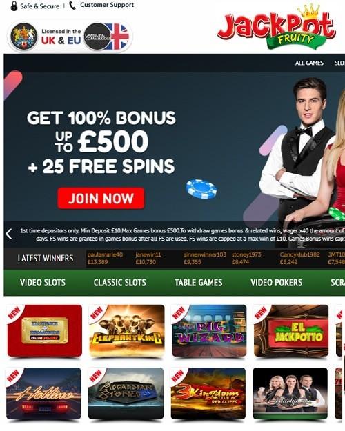 Jackpot Fruity Casino free bonus