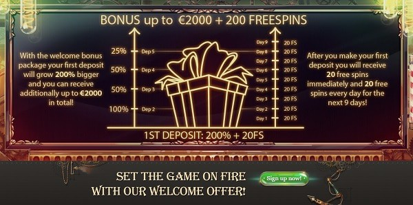 2000 EUR and 200 free spins welcome bonus at JoyCasino!