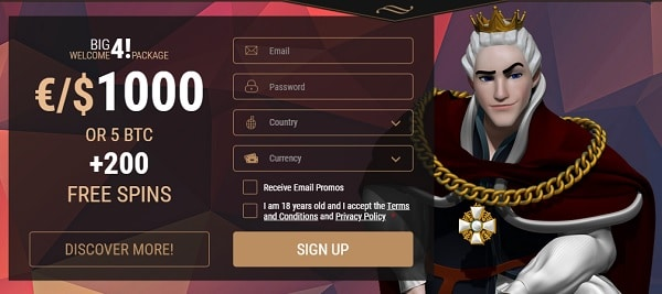 Register now and get 5 BTC/1000 EUR and 200 free spins