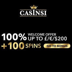 Casinsi™ 100 extra spins and 100% up to €200 free play bonus