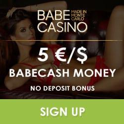 Babe Casino €5 no deposit + 200 free spins + €2,500 free bonus