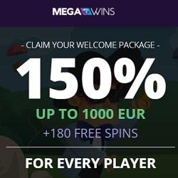 Mega Wins Casino €1,000 bonus and 180 free spins (Bitcoins Accepted)