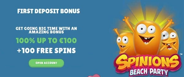 100 free spins on Spinions Beach Party slot