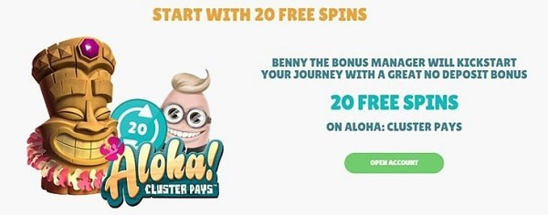 20 no deposit free spins on Aloha Cluster Pays slot