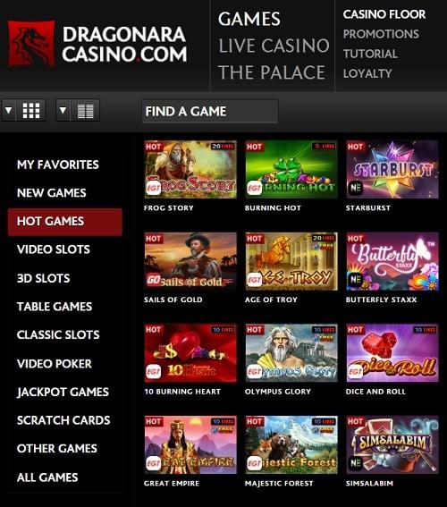 Dragonara Casino free spins bonus