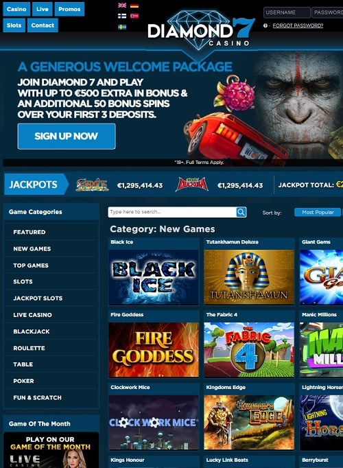 Diamond7 Casino free bonus