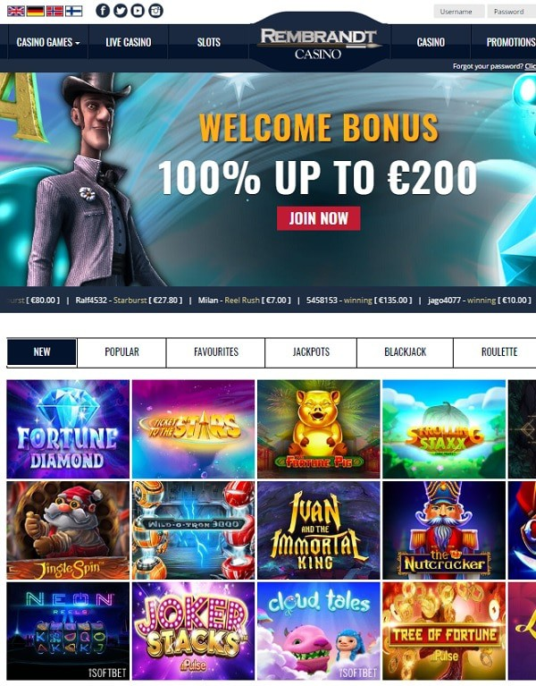 Rembrandt Casino Screen Review