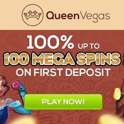 Queen Vegas Casino 100% bonus & 100 mega spins on first deposit