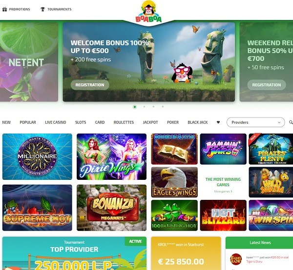 BoaBoa Casino welcome bonus