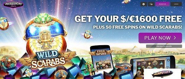 50 free spins bonus on Wild Scarabs slot at JackpotCity