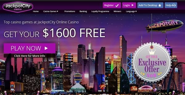 Jackpotcity 400% up to $1,600 welcome bonus