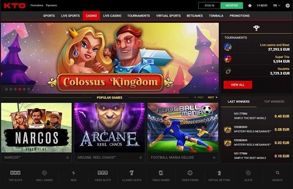 KTO Casino screen - homepage