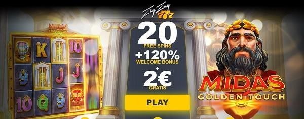 2 EUR + 120% bonus + 20 free spins