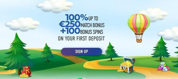 100% bonus and 100 free spins on 1st deposit