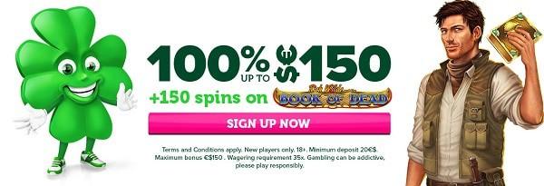 100% bonus up to 150 EUR/USD
