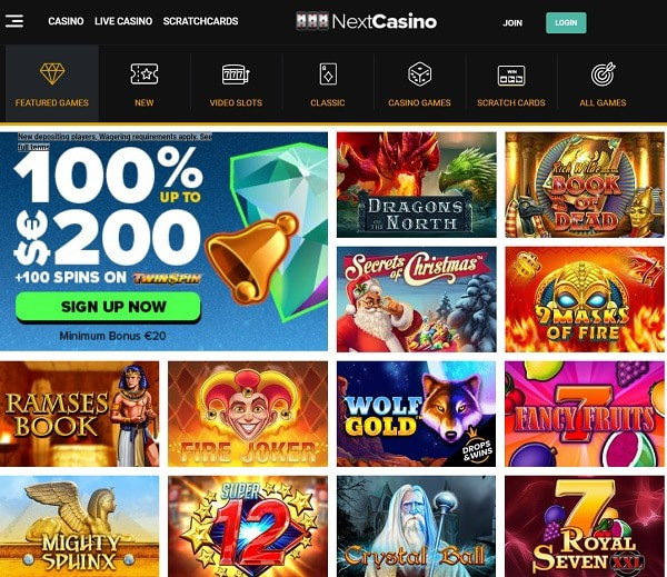 NextCasino.com 100 free spins and 100% welcome bonus