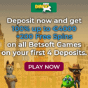 Casino Dingo 200 free spins bonus on Betsoft slot machines