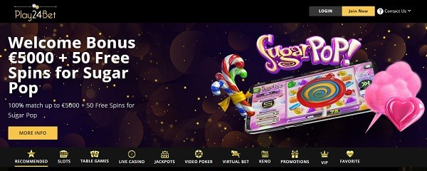 Welcome Offer: $5000 bonus and 50 free spins