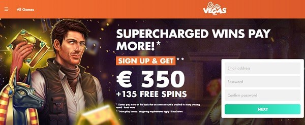 100% welcome bonus and 135 free spins