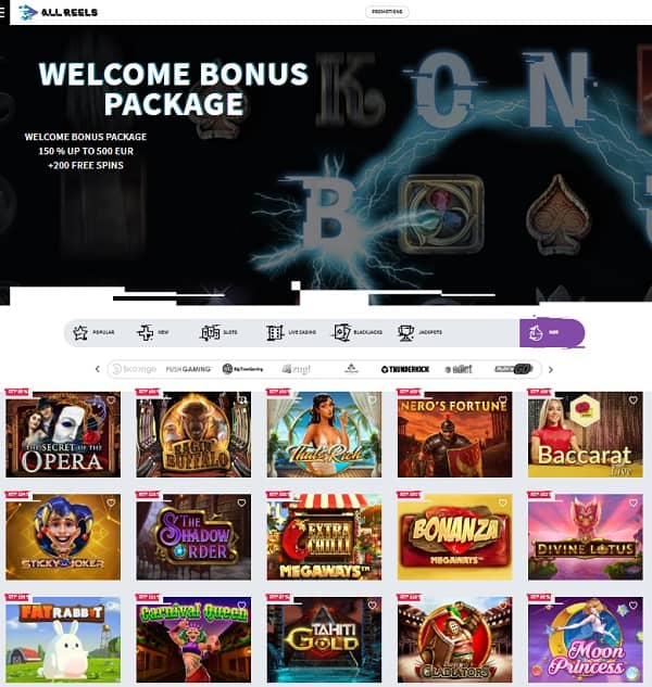 All Reels Casino Welcome Bonus Pack (Review)