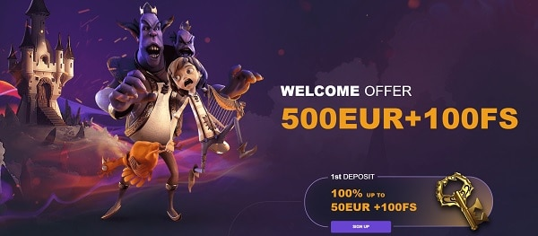500 EUR/USD + 100 Free Spins in Welcome Bonus