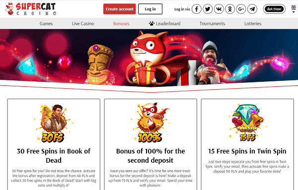 SuperCat Casino Website Review