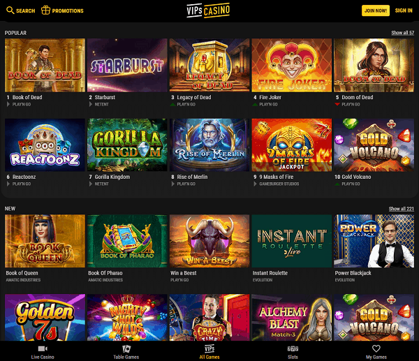 Exclusive Free Spins Bonuses at VipsCasino.com