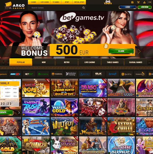 Argo Casino Online 20 freespins on sign up