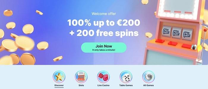 100% bonus + 200 gratis spins